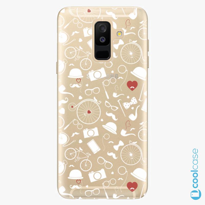 Silikonové pouzdro iSaprio - Vintage Pattern 01 white na mobil Samsung Galaxy A6 Plus