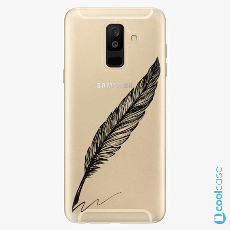 Silikonové pouzdro iSaprio - Writing By Feather black na mobil Samsung Galaxy A6 Plus