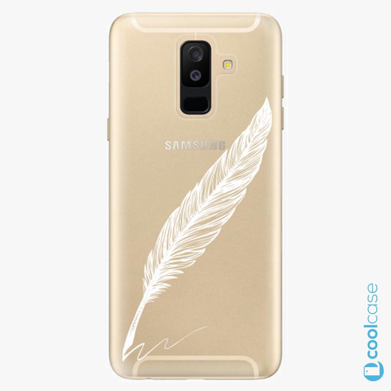 Silikonové pouzdro iSaprio - Writing By Feather white na mobil Samsung Galaxy A6 Plus