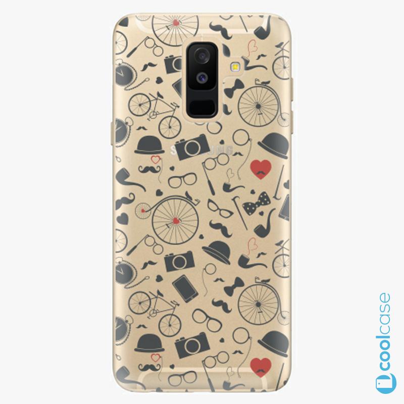 Silikonové pouzdro iSaprio - Vintage Pattern 01 black na mobil Samsung Galaxy A6 Plus