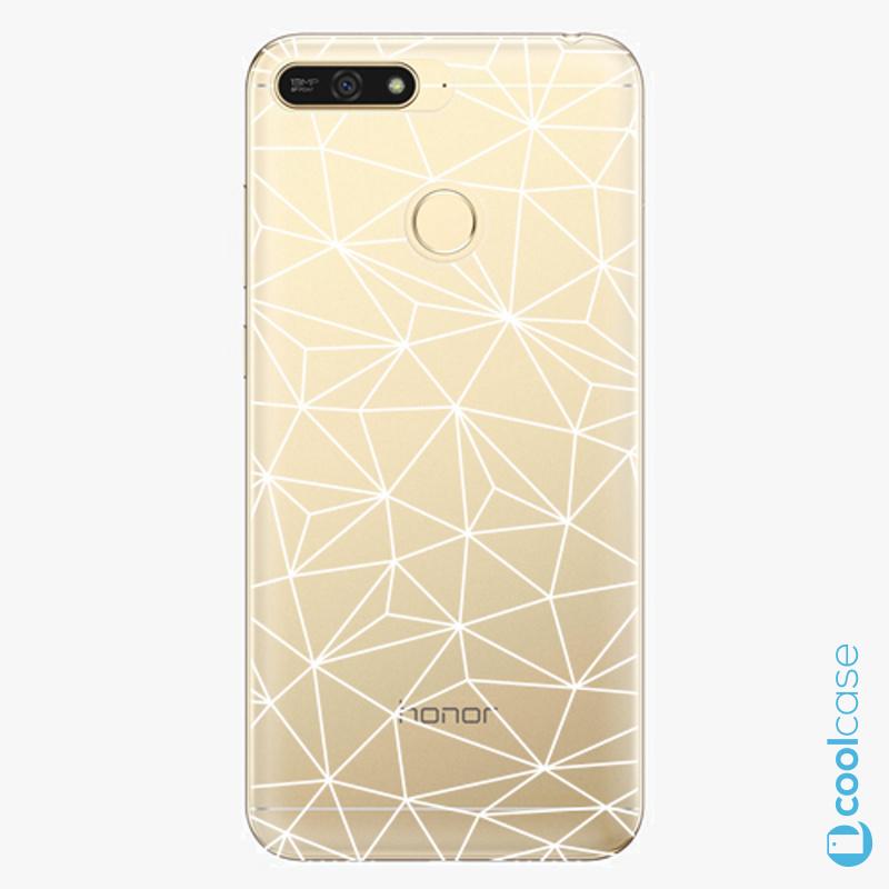 Silikonové pouzdro iSaprio - Abstract Triangles 03 white na mobil Honor 7A