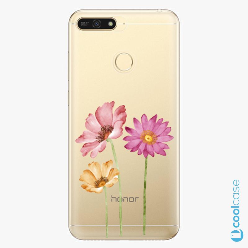 Silikonové pouzdro iSaprio - Three Flowers na mobil Honor 7A