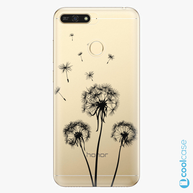Silikonové pouzdro iSaprio - Three Dandelions black na mobil Honor 7A