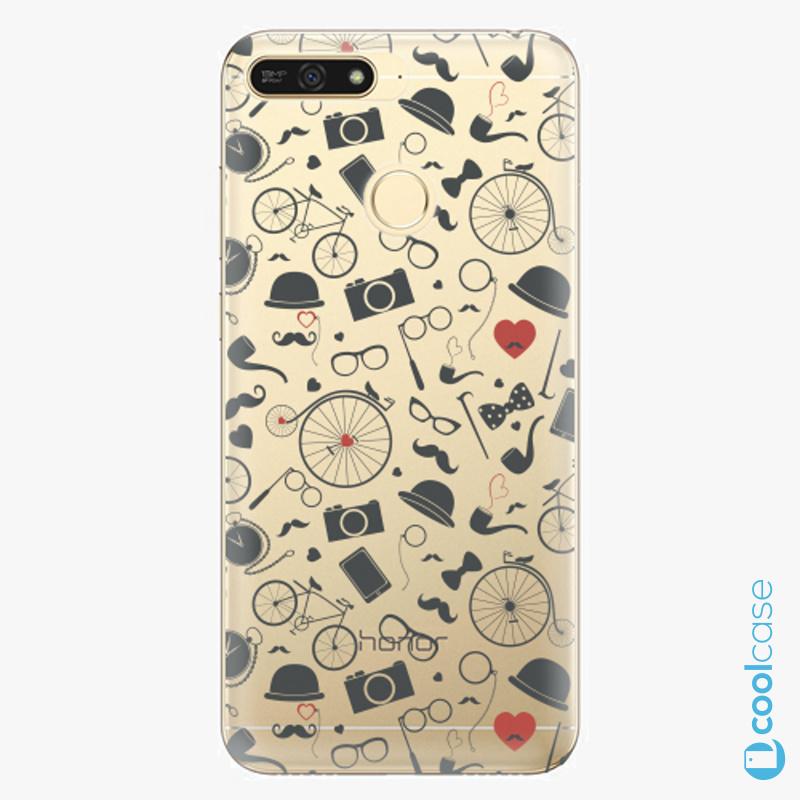 Silikonové pouzdro iSaprio - Vintage Pattern 01 black na mobil Honor 7A