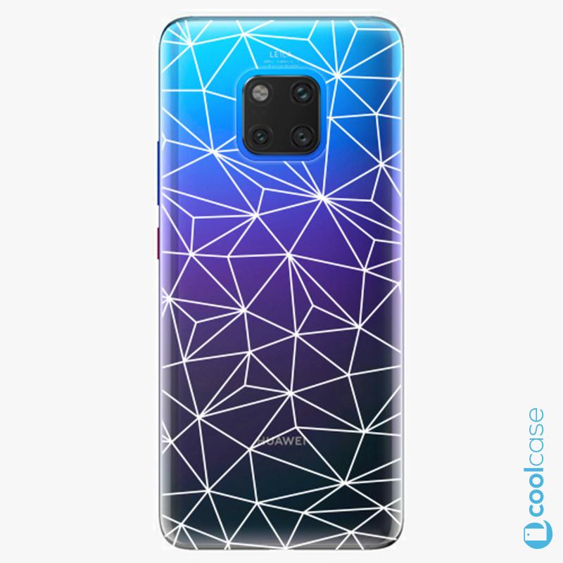 Silikonové pouzdro iSaprio - Abstract Triangles 03 white na mobil Huawei Mate 20 Pro