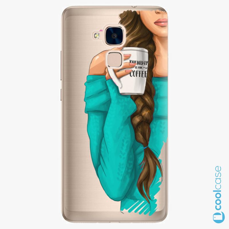 Silikonové pouzdro iSaprio - My Coffe and Brunette Girl na mobil Honor 7 Lite