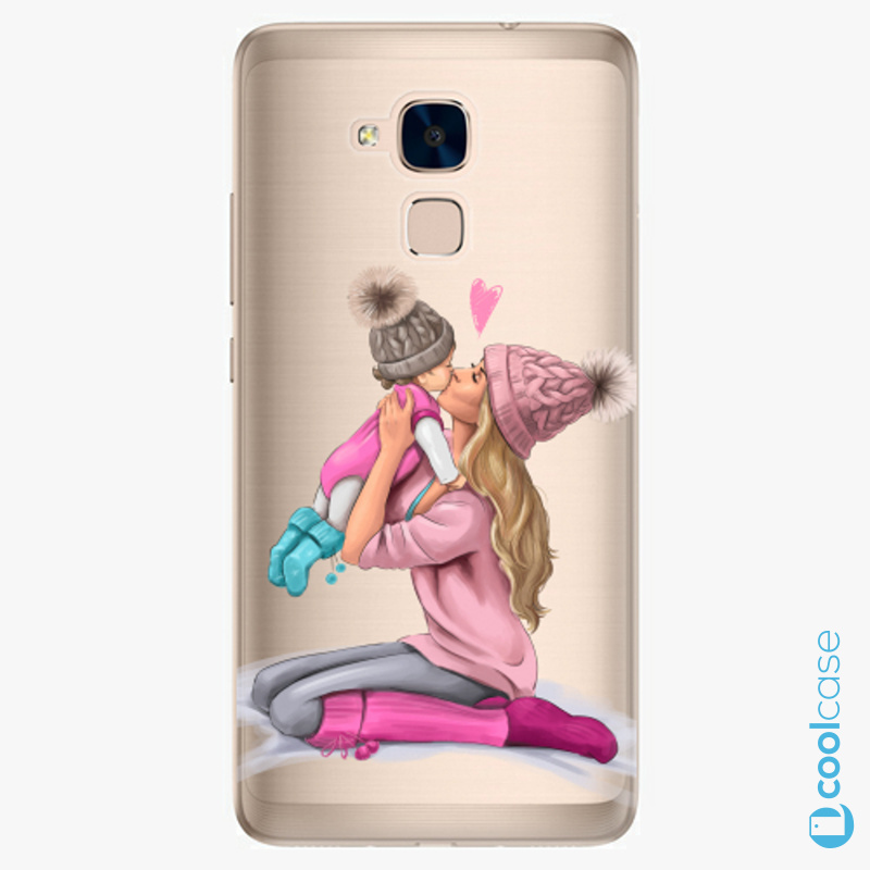 Silikonové pouzdro iSaprio - Kissing Mom Blond and Girl na mobil Honor 7 Lite