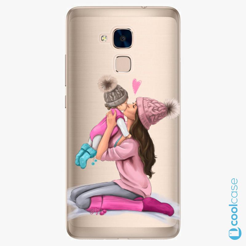 Silikonové pouzdro iSaprio - Kissing Mom Brunette and Girl na mobil Honor 7 Lite