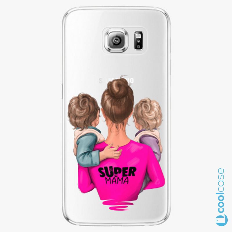 Silikonové pouzdro iSaprio - Super Mama na mobil Two Boys na mobil Samsung Galaxy S6 Edge