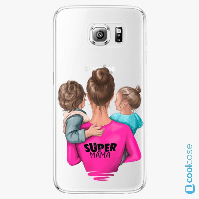Silikonové pouzdro iSaprio - Super Mama na mobil Boy and Girl na mobil Samsung Galaxy S6 Edge