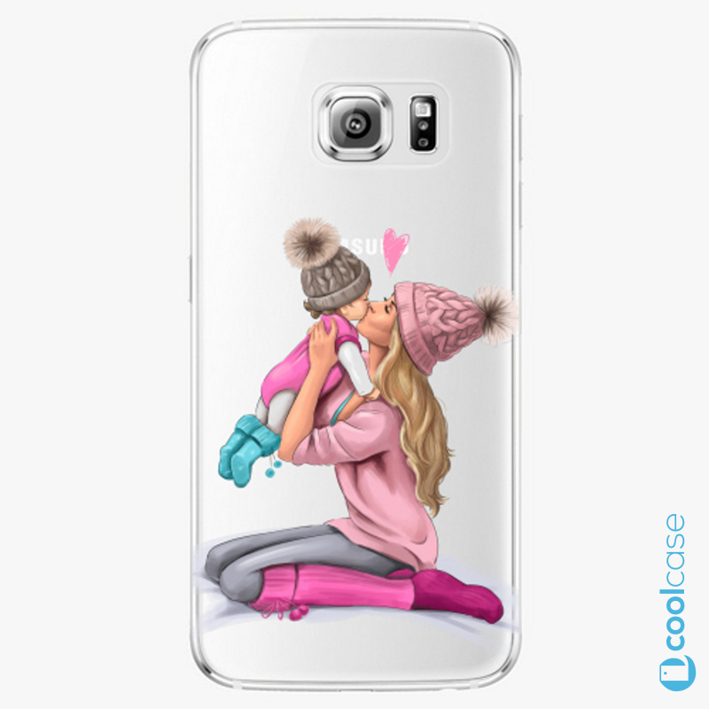 Silikonové pouzdro iSaprio - Kissing Mom Blond and Girl na mobil Samsung Galaxy S6 Edge