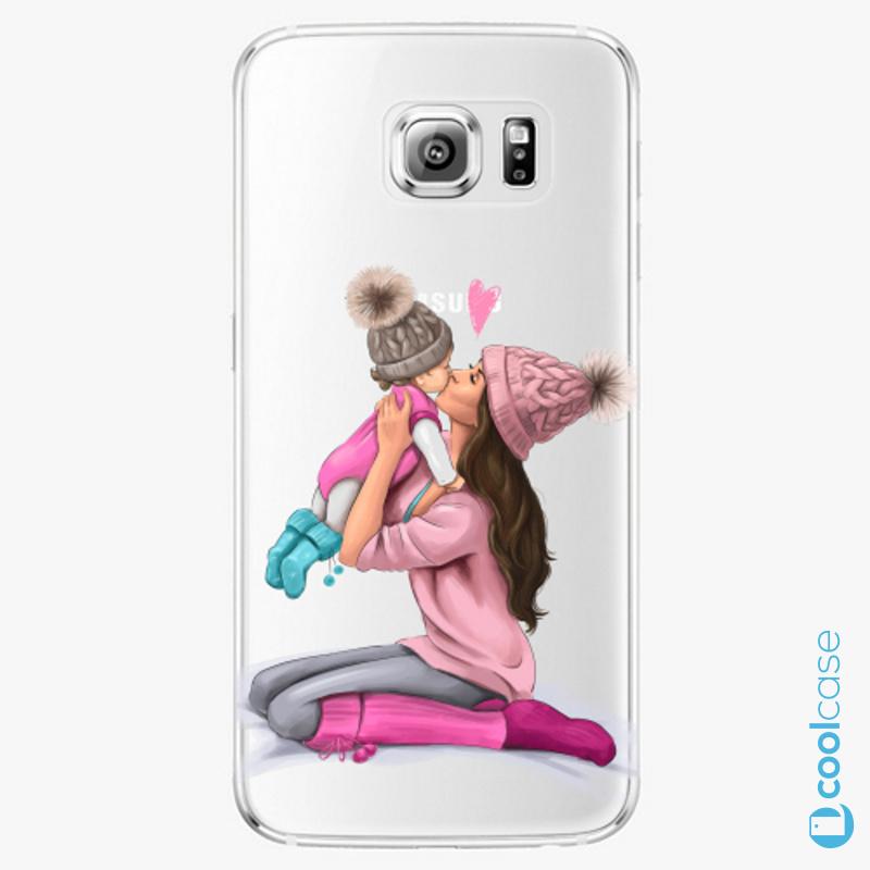 Silikonové pouzdro iSaprio - Kissing Mom Brunette and Girl na mobil Samsung Galaxy S6 Edge