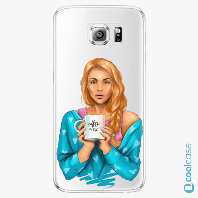 Silikonové pouzdro iSaprio - Coffe Now Redhead na mobil Samsung Galaxy S6 Edge