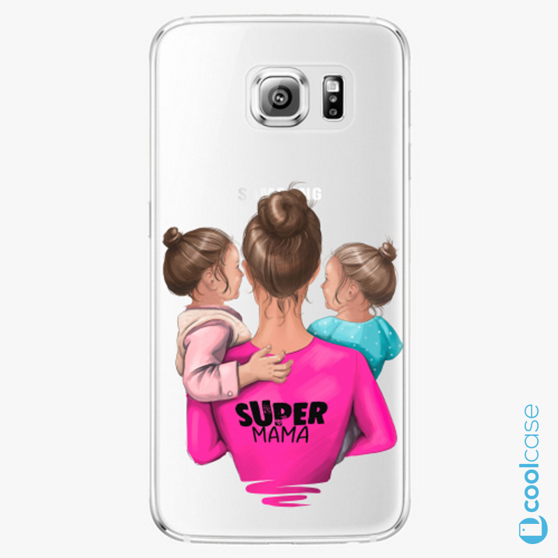Silikonové pouzdro iSaprio - Super Mama na mobil Two Girls na mobil Samsung Galaxy S6 Edge