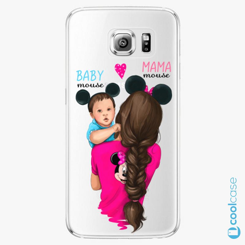 Silikonové pouzdro iSaprio - Mama Mouse Brunette and Boy na mobil Samsung Galaxy S6 Edge