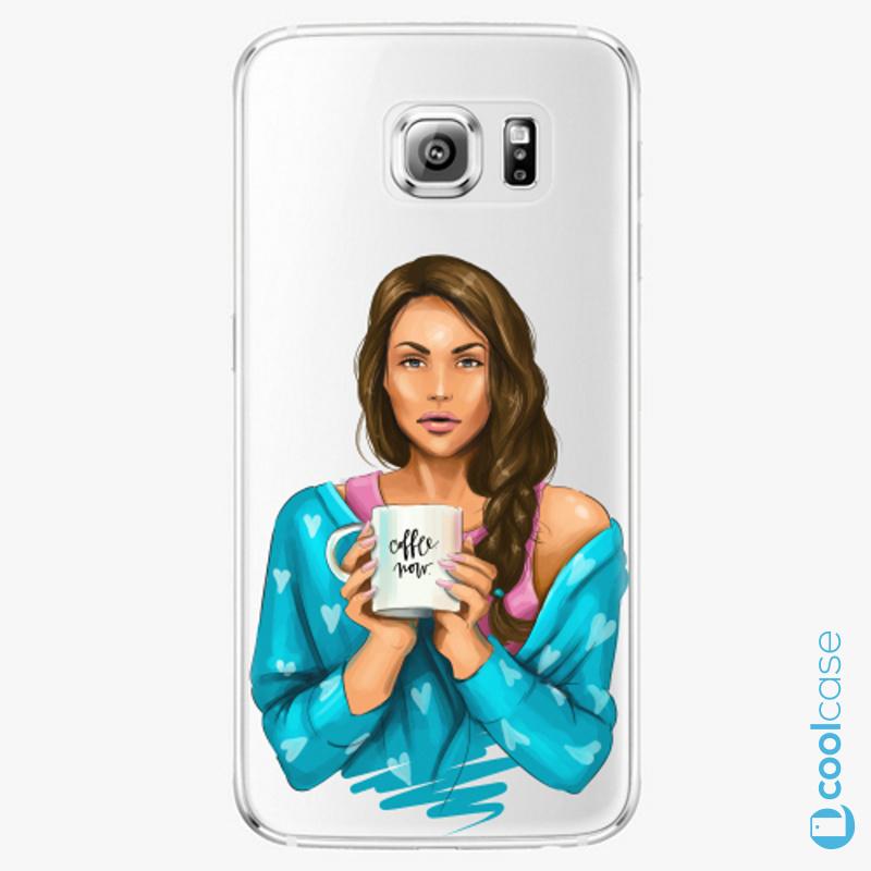 Silikonové pouzdro iSaprio - Coffe Now Brunette na mobil Samsung Galaxy S6 Edge