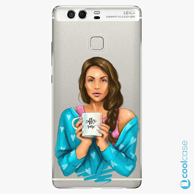 Silikonové pouzdro iSaprio - Coffe Now Brunette na mobil Huawei P9